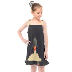 Rocket Space Stars Kids  Overall Dress by Nexatart
