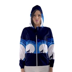 Month Full Moon Wolf Night Hooded Windbreaker (women) by Nexatart