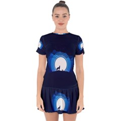 Month Full Moon Wolf Night Drop Hem Mini Chiffon Dress by Nexatart