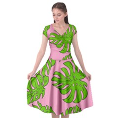 Leaves Tropical Plant Green Garden Cap Sleeve Wrap Front Dress