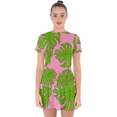 Leaves Tropical Plant Green Garden Drop Hem Mini Chiffon Dress