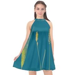 Grass Grasses Blade Of Grass Halter Neckline Chiffon Dress  by Nexatart