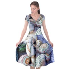 Model Color Traditional Cap Sleeve Wrap Front Dress by Nexatart