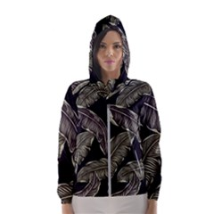Jungle Leaves Tropical Pattern Hooded Windbreaker (women) by Nexatart