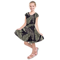 Jungle Leaves Tropical Pattern Kids  Short Sleeve Dress