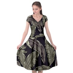 Jungle Leaves Tropical Pattern Cap Sleeve Wrap Front Dress by Nexatart