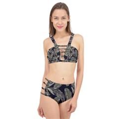 Jungle Leaves Tropical Pattern Cage Up Bikini Set