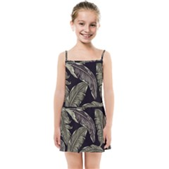 Jungle Leaves Tropical Pattern Kids Summer Sun Dress by Nexatart