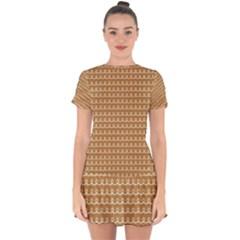 Gingerbread Christmas Drop Hem Mini Chiffon Dress