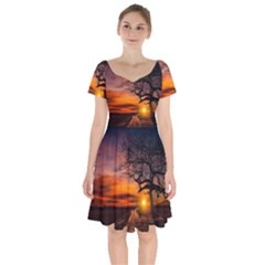 Lonely Tree Sunset Wallpaper Short Sleeve Bardot Dress by Alisyart
