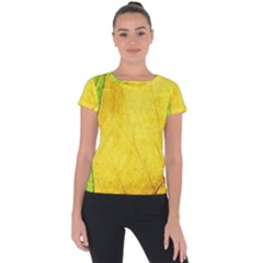 Green Yellow Leaf Texture Leaves Short Sleeve Sports Top  by Alisyart