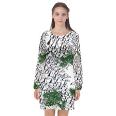 Montains Hills Green Forests Long Sleeve Chiffon Shift Dress