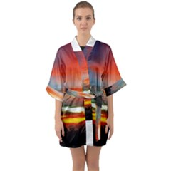 Sunset Mountain Indonesia Adventure Quarter Sleeve Kimono Robe by Nexatart