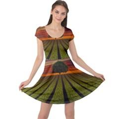 Natural Tree Cap Sleeve Dress