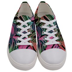 Leaves Tropical Jungle Pattern Women s Low Top Canvas Sneakers
