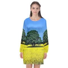 Tree In Field Long Sleeve Chiffon Shift Dress