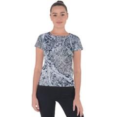 Marble Pattern Short Sleeve Sports Top  by Alisyart