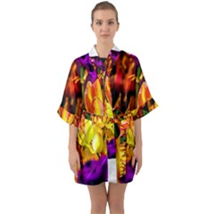 Fancy Tulip Flowers In Spring Quarter Sleeve Kimono Robe by FunnyCow