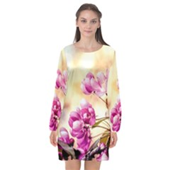 Paradise Apple Blossoms Long Sleeve Chiffon Shift Dress  by FunnyCow
