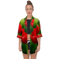 Three Red Tulips, Green Background Open Front Chiffon Kimono by FunnyCow