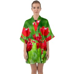 Red Tulip Flowers, Sunny Day Quarter Sleeve Kimono Robe by FunnyCow