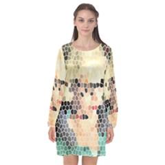 Stained Glass Girl Long Sleeve Chiffon Shift Dress  by snowwhitegirl