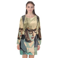 Girl Thinking Long Sleeve Chiffon Shift Dress  by snowwhitegirl