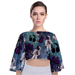 Astronaut Space Galaxy Tie Back Butterfly Sleeve Chiffon Top by snowwhitegirl