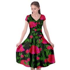 Roses At Night Cap Sleeve Wrap Front Dress by snowwhitegirl