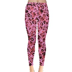 Officially Sexy Peachy Pink & Black Cracked Pattern Leggings  by OfficiallySexy