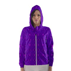 Bold Geometric Purple Circles Hooded Windbreaker (women) by BrightVibesDesign