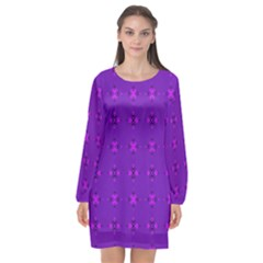 Bold Geometric Purple Circles Long Sleeve Chiffon Shift Dress  by BrightVibesDesign