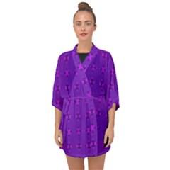 Bold Geometric Purple Circles Half Sleeve Chiffon Kimono by BrightVibesDesign