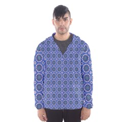 Floral Circles Blue Hooded Windbreaker (men) by BrightVibesDesign
