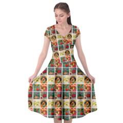 Victorian Fruit Labels Cap Sleeve Wrap Front Dress by snowwhitegirl