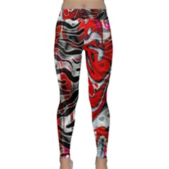 Retro Red Swirl Design By Flipstylez Designs Classic Yoga Leggings by flipstylezfashionsLLC