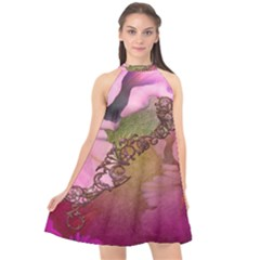 Flowers In Soft Violet Colors Halter Neckline Chiffon Dress  by FantasyWorld7