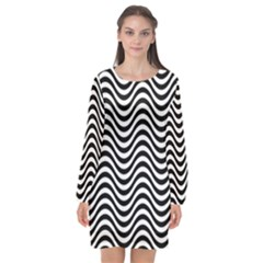 Wave Pattern Wavy Water Seamless Long Sleeve Chiffon Shift Dress