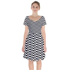 Wave Pattern Wavy Water Seamless Short Sleeve Bardot Dress by Nexatart
