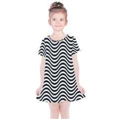 Wave Pattern Wavy Water Seamless Kids  Simple Cotton Dress