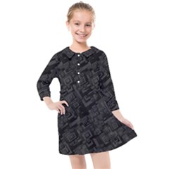 Black Rectangle Wallpaper Grey Kids  Quarter Sleeve Shirt Dress by Nexatart