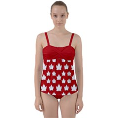 Cute Canada  Twist Front Tankini Set by CanadaSouvenirs