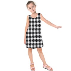Square Diagonal Pattern Seamless Kids  Sleeveless Dress by Nexatart