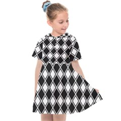 Square Diagonal Pattern Seamless Kids  Sailor Dress by Nexatart