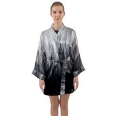 Feather Graphic Design Background Long Sleeve Kimono Robe