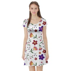 Flowers Pattern Texture Nature Short Sleeve Skater Dress