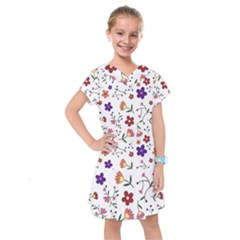Flowers Pattern Texture Nature Kids  Drop Waist Dress by Nexatart