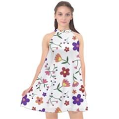 Flowers Pattern Texture Nature Halter Neckline Chiffon Dress