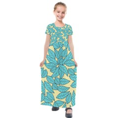 Leaves Dried Leaves Stamping Kids  Short Sleeve Maxi Dress by Nexatart