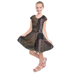 Hong Kong At Night Skyline Kids  Short Sleeve Dress